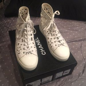 Chanel White Leather Sneakers